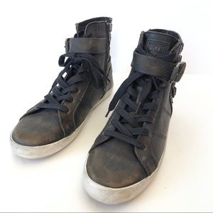 Frye Dylan Belted High Top Sneakers Rugged leather